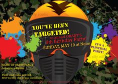 Print it yourself! Paintball, Paintballing, Extreme Sport Birthday invitations 5x7 front and back template by The Silly Nilly Studio on Etsy, $12.00