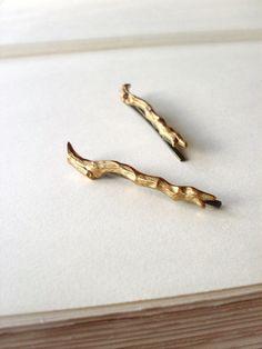 Gold Branch Bobby Pins