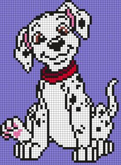 Dalmation Puppy From 101 Dalmations Perler Bead Pattern / Bead Sprite Fuse Bead Patterns, Perler Patterns, Beading Patterns, Cross Stitch Patterns, Kandi Patterns, Perler Bead Disney, Perler Bead Art, Perler Beads, Motifs Perler