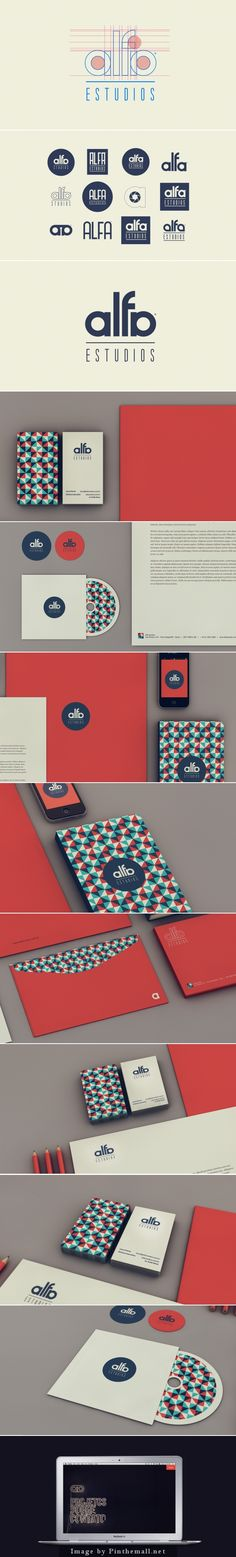 Corporate identity stationary suite for Alfa Studios by Isabela Rodrigues. I love the colors and graphic print.