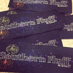 Some gorgeous woven labels we made for @southernfluffnstuff Love the logo!!  Thank you!