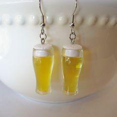 Glass of Draft Beer Earrings  Miniature Food Jewelry by Artwonders, $12.00