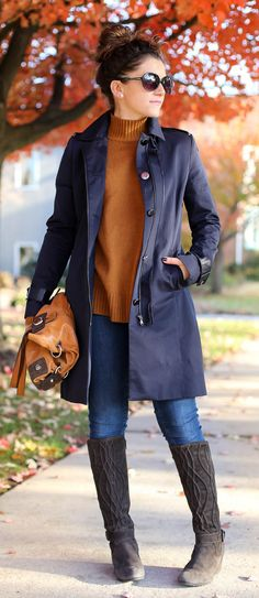 fall colors - perfect outfit for fall with a burnt orange-brown sweater, navy trench and brown wedge boots