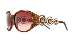 Hot Sun Spot Oversized Designer Sunglasses With Brownish Shades And Warm Toned Swarovski Crystals - 0