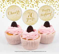 Cupcake Toppers 70th Birthday
