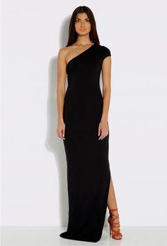 Livia Black One Shoulder Maxi Dress with Side Slit £90  http://www.aqaq.com/product/female/livia-black-one-shoulder-maxi-dress