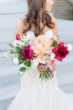 gorgeous bouquet with red and peach peonies | Matt and Julie #wedding