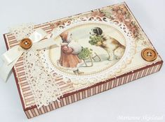 A christmas box featuring the Silent Night collection Vintage Box, Vintage Paper, Third Sunday Of Advent, Chocolate Card, Matchbox Crafts, Christmas Paper Crafts, Scrapbooking, Silent Night, Winter Cards