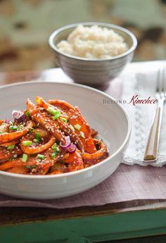 Stir-fried Spicy Squid Calamari Recipes, Squid Recipes, Seafood Recipes, Cooking Recipes, Fish Recipes, Dinner Recipes, Korean Dishes, Korean Food, Asian Recipes