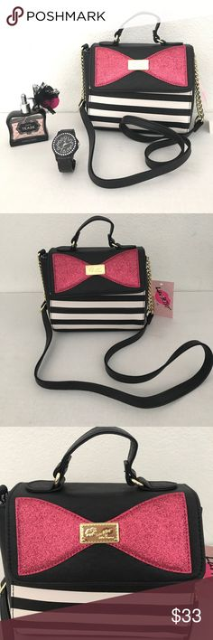 Crossbody striped bag Glitter bow, black and white stripes. New with tags. Reasonable offers are welcome, no trades!                                 IL147 Betsey Johnson Bags Crossbody Bags