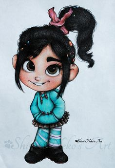 Disney Drawing Wreck-It Ralph - Vanellope von Schweetz by ShiroiNekosArt on DeviantArt - Disney Character Drawings, Disney Drawings Sketches, Cute Disney Drawings, Drawing Cartoon Characters, Disney Princess Drawings, Cartoon Sketches, Easy Drawings, Cartoon Art, Arte Disney