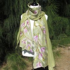 Nuno Felted Scarf in Lichen Green With by Twigsimmortalized