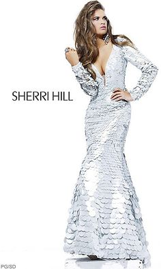 Deep V-Neck Silver Sequin Long Sleeve Dress at SimplyDresses.com