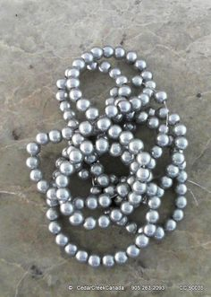 Silver Grey 6mm Round Glass Beads                                    CC-90035