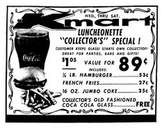 Kmart Family Cafeteria 1960 S Vintage Menu Old