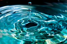 Droplet Photograph 8x12 water drop picture abstract image blue green photo print Fine art Photography teal aqua wall art.