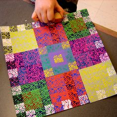 "Eraser Print Collage ""Quilts"" 