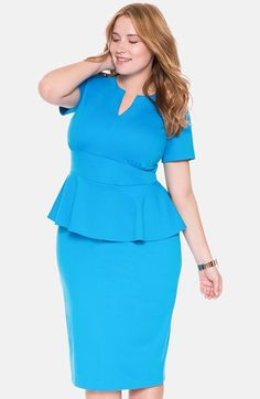 ELOQUII 'Jennie' Ponte Peplum Dress (Plus Size) available at #Nordstrom