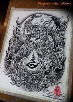 Khmer Tattoo, Thai Tattoo, Sak Yant Tattoo, Yakuza Tattoo, Dragon Tattoo Full Back, Geometric Tattoos Men, Cambodian Art, Thai Art, Chicano Art