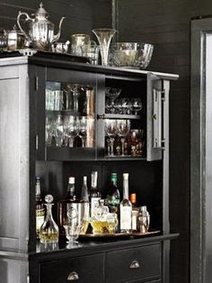 a perfect gray: A Bar Inside a Cabinet
