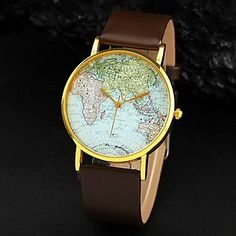 Unisex World Map Pattern PU Band Quartz Wristwatches Assorted Colors , Brown