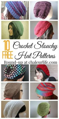 10 Free Crochet Slouchy Hat Patterns.  Perfect DIY hats for fall or back to school!: