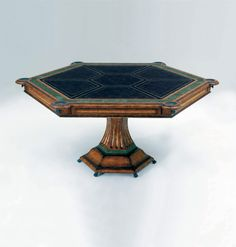 """Maitland-Smith 3130-074 Lido Finished Mahogany Card Table with Birds Eye Maple Veneer and Black Leather Top   66"""" dia   6720.00 retail."""