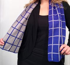 Men's Woman's Scarf Blue and Grey (Multi-Color Available) Windowpane Check Plaid Gift US #Scarf