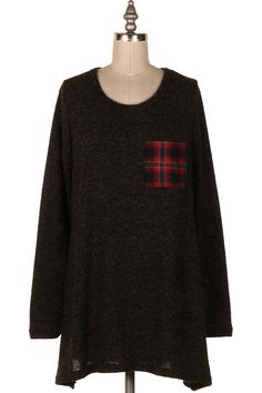 PLAID POCKET & BACK CONTRASTED KNIT TUNIC.   #22P-P244