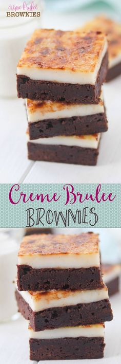 Creme Brulee Brownies -- two of my favorite desserts in ONE!! Omg almost too good to be true :) Yummy Treats, Delicious Desserts, Sweet Treats, Yummy Food, Healthy Desserts, Low Carb Dessert, Dessert Bars, Brownie Recipes, Cookie Recipes