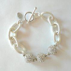 Silver Chain Link & Pave Ball Bracelet. $35.00, via Etsy.