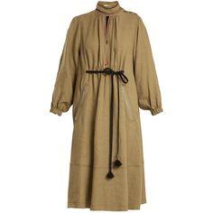 Sonia Rykiel Balloon-sleeve linen midi dress (3,735 ILS) ❤ liked on Polyvore featuring dresses, khaki, mid calf dresses, embellished midi dress, brown dresses, embroidery dresses and linen midi dress