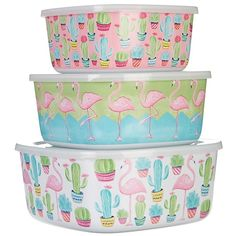 Tropix 3-pc. Cacti & Flamingo Storage Containers Flamingo Craft, Flamingo Decor, Flamingo Party, Pink Flamingos, Flamingo Gifts, Pink Bird, My Spirit Animal, Storage Containers, Just In Case