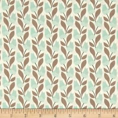 Cloud 9 Organic Park Life Bloomsbury Turquoise from @fabricdotcom  Designed by Elizabeth Olwen for Cloud 9 Fabrics, this GOTS certified organic cotton print is perfect for quilting, apparel, and home decor accents. Colors include taupe, mint/aqua, brown, and cream.