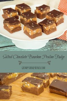 An  easy, no fail chocolate fudge recipe. Layered with a bourbon caramel filling and topped with some dark salted chocolate.