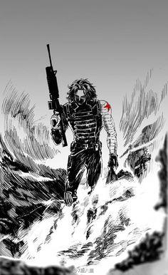Marvel Vs, Marvel Fan Art, Marvel Heroes, Marvel Comics, Bucky Barnes, Steve Rogers, Captain America Films, Avengers Art, Winter Soldier Bucky