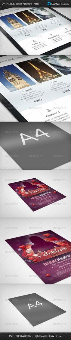 A4 Multipurpose Mockups Pack — Photoshop PSD #letter #photo like • Available here → https://graphicriver.net/item/a4-multipurpose-mockups-pack/3925402?ref=pxcr