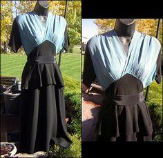"Vintage 40s Day Dress Flirty Peplum in Black Teal Blue Rayon - Swing Era - Bust 40"" on Etsy, $84.50"