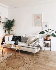 Boho and modern decor meet in this living room that uses accent pillows and throw blankets to make it feel homey and cozy. Love the use the two rugs and plants in this space too.