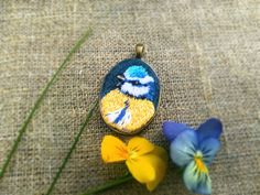 Hand embroidery pendants titmouse. Embroidery от MoeraeCrafts