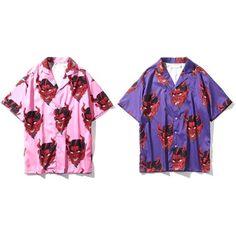 d42d83e39 Devil Hawaiian Shirt, Vintage Pattern Button Down, Pink Purple Unisex  Button Up Shirt, Novelty Print Top Short Sleeve Shirt, Vacation Shirt