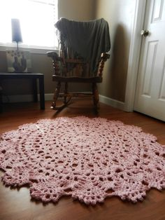 Giant Crochet Doily Rug in Pink Lace HandmadeCottage by EvaVillain, $99.00