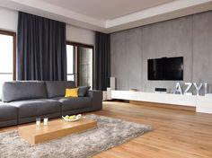 Wandgestaltung in Betonoptik und Holzbodenbelag