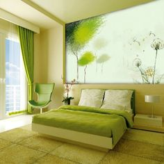 lime green bedroom with wall panel and retro chair