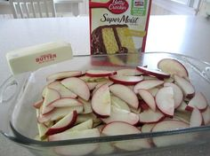 5 to 7 granny smith apples (or whatever you prefer), peeled, cored & thinly sliced 1 (9 ounce) package yellow cake mix 2 tablespoons sugar 1 tablespoon ground cinnamon 1 stick real butter  Directions:  1. Preheat oven to 350°F. 2. Cut apple slices crosswise in half. 3. Place in pan; sprinkle with dry cake mix. 4. In small bowl, combine sugar & cinnamon; sprinkle over cake mix. 5. Drizzle with butter. 6. Bake 30 minutes or until topping is golden brown. 7. Serve warm with ice cream, if…