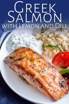 This delicious and easy Greek Salmon is the perfect quick healthy dinner for the whole family. The marinade is a simple mix of olive oil, lemon, dill, and oregano. The fish is pan-fried, giving it a wonderfully crisp exterior and meltingly tender and succulent center. Perfect for serving with orzo and a Greek salad. Transport your self to Greece with the traditional and authentic recipe for Greek Salmon! Sprout Recipes, Fish Recipes, Seafood Recipes, Cooking Recipes, Lemon Recipes, Dinner Recipes, Delicious Salmon Recipes, Healthy Recipes, Lean Meat Recipes