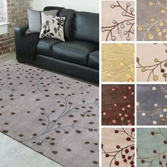 Hand-tufted Sakura Branch Floral Wool Area Rug (12' x 15') - Overstock™ Shopping - Great Deals on 7x9 - 10x14 Rugs