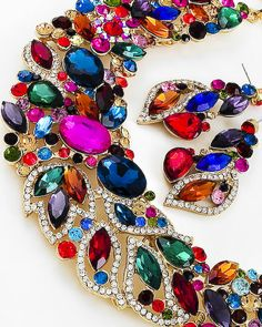 Gold Tone / Multi Color Glass & Rhinestone / Necklace & Post Earring Set