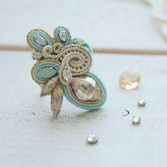 Кольцо в сутажной технике с кристаллами Сваровски. Soutache ring with Swarovski.