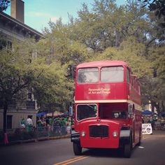 The SCAD double-decker bus in the St. Patrick's Day parade. @VisitSavannah Georgia